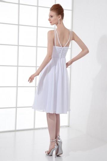 robe de dame dhonneur blanche col en v empire orn e de bijoux. Black Bedroom Furniture Sets. Home Design Ideas