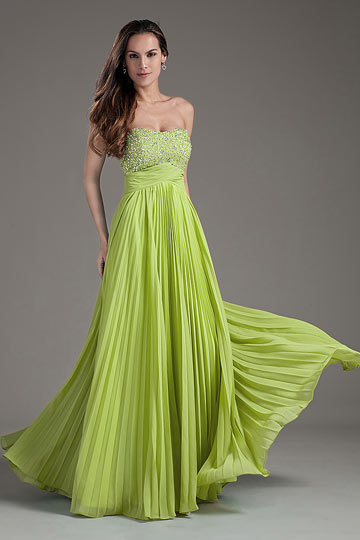 Long formal empire dress with pleated skirt