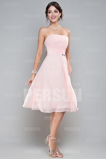 robe-demoiselle-dhonneur-rose-en-mousseline-sans-manche-plisses-ceinturee