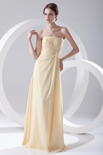 Robe demoiselle d'honneur jaune bustier simple empire