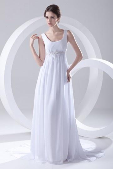 Robe de mariée longue col U Empire ornée d'applique