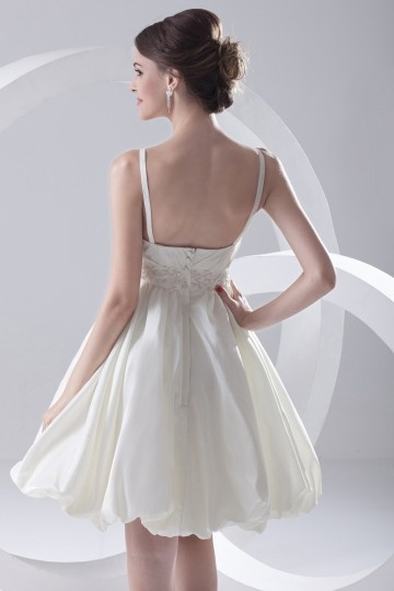 Robe de mariée courte bretelle fine Empire à jupe bouffante