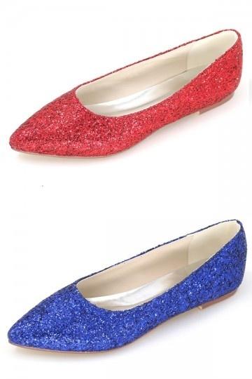 ballerine-sequin-bout-pointu-en-rouge-et-bleu-electrique Que porter à un mariage si vous êtes enceinte ?