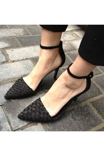 Chaussures noires à talons motif écaillé